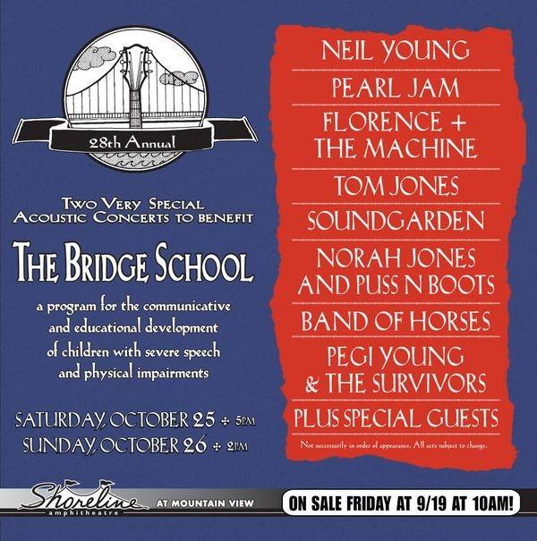 The Bridge School anuncia sus primeros artistas Neil Young, Pearl Jam, Band of Horses, Norah Jones and Puss n Boots, Florence and the Machine, Soundgarden, y Tom Jones