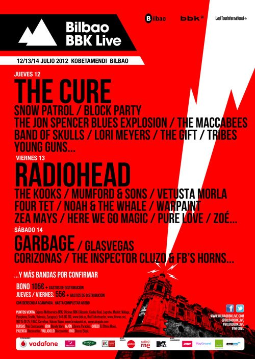 BBK Live 2012 Bilbao, The Cure, Radiohead, The Cult, Mumford & Sons, Garbage, etc