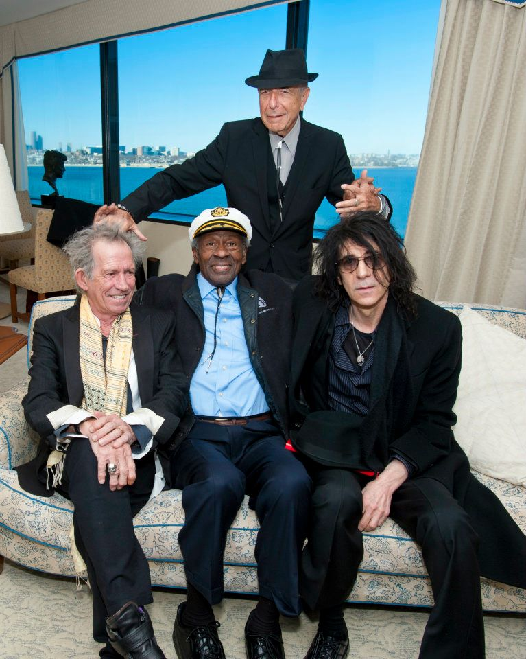Chuck.Berry.Keith Richards, Chuck Berry y Leonard Cohen en el PEN New England and the John F. Kennedy Presidential 2012 Awards for Song Lyrics of Literary Excellence.