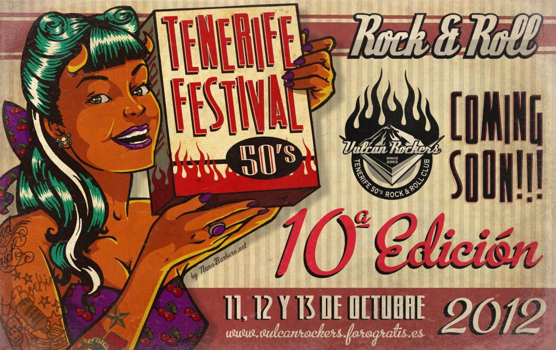 Cartel de Nano Barbero para el 10º Tenerife Festival 50's Rock and Roll que organizan los Vulcan Rockers de Tenerife