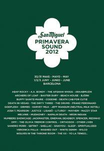 Primavera Sound Festival, Barcelona, mayo-junio 2012.