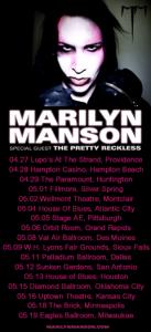 Marilyn Manson Hey Cruel World Tour 2012 North America US Tour