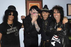 Slash, Marilyn Manson, Johnny Depp y Alice Cooper en el The Metal Hammer Golden Gods Awards 2012