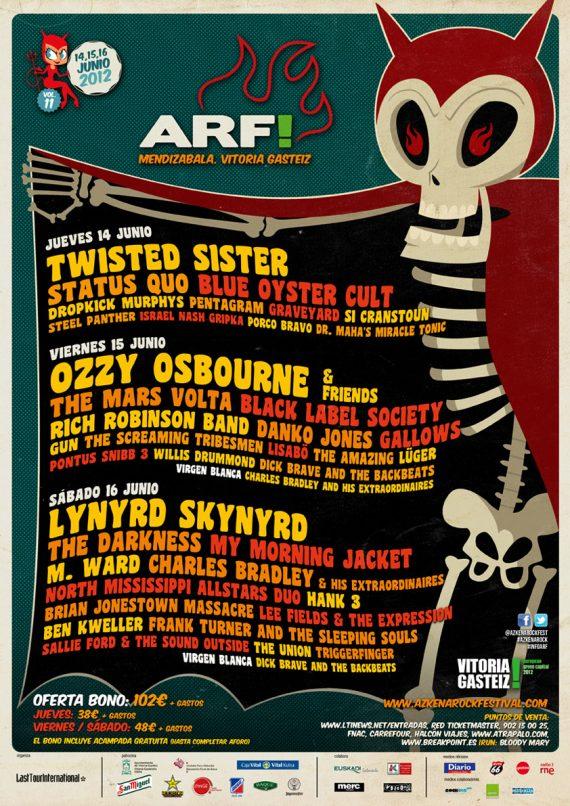 Azkena Rock Festival ARF 2012, ARF'2012 14, 15 y 16 junio de 2012