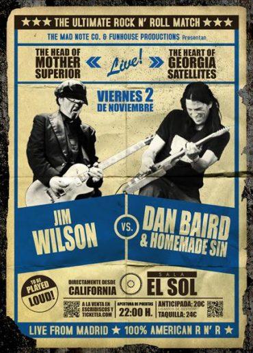 Dan Baird & Homemade Sin vs Jim Wilson 2 noviembre 2012 en Madrid Sala El Sol