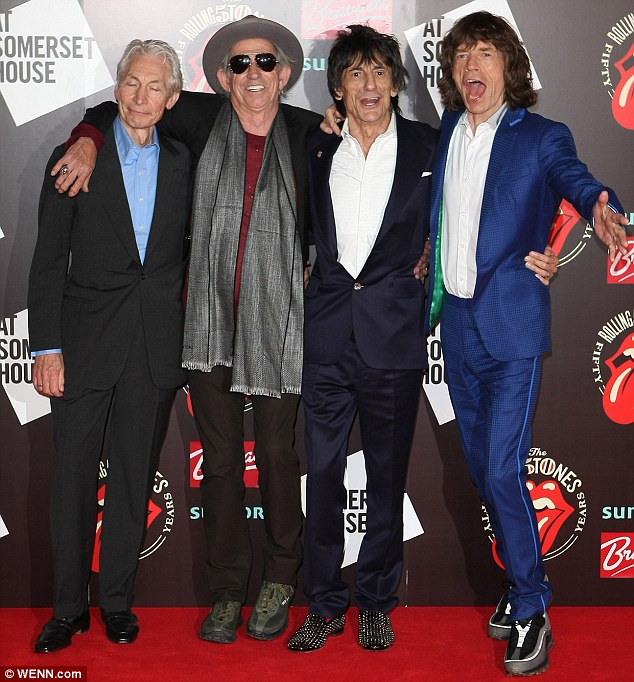The Rolling Stones en su exposición fotográfica The Rolling Stones 50 Anniversary en Somerset House , Londres 12 julio 2012