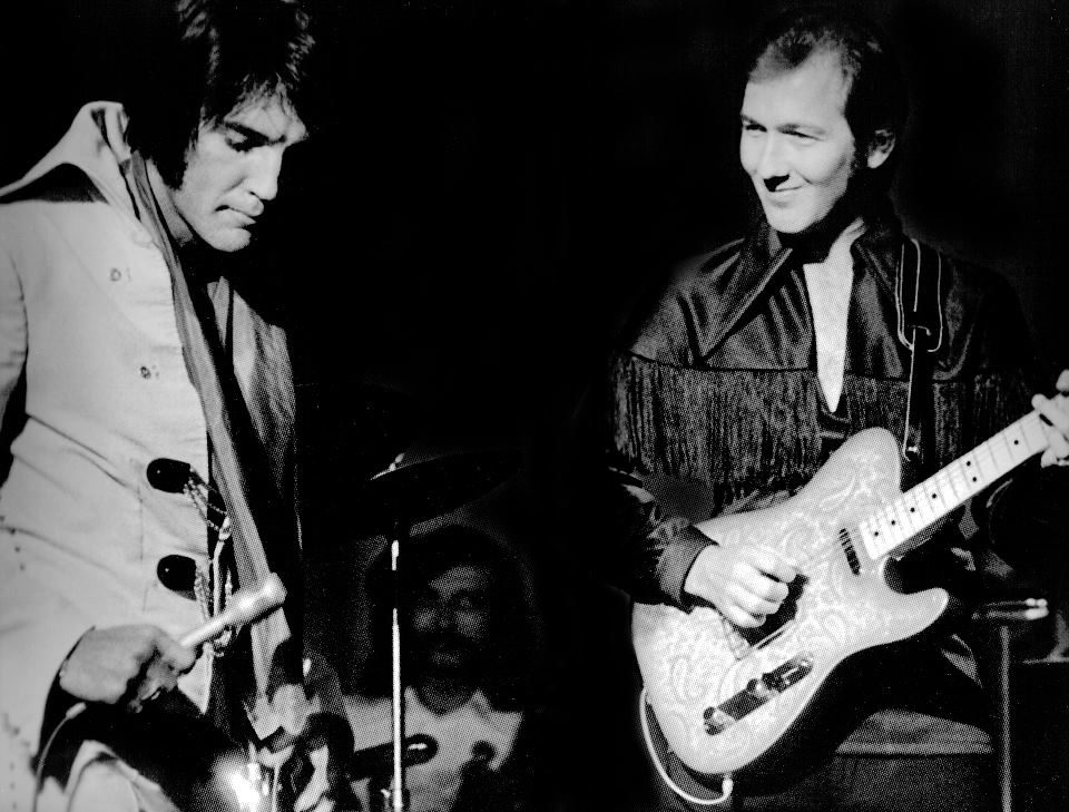 Elvis Presley y James Burton creador del chicken pickin