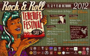 10º Tenerife Festival 50's Rock and 'Roll 2012 organizado por Vulcan Rockers. Cartel realizado por Nano Barbero