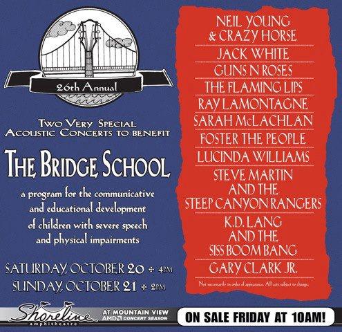 """""""Annual Bridge School Benefit Concert"""" el 20 y 21 de octubre de 2012"""