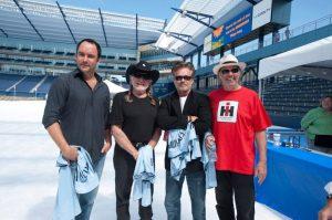 Farm Aid 2012 Dave Matthews, Wille Nelson John Mellencamp y Neil Young en el Hersheypark Stadium de Pennsylvania