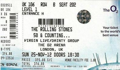 The Rolling Stones concierto en Londres The O2 Noviembre 2012 con Bill Wyman, Mick Taylor, Jeff Beck y  Mary J. Blige
