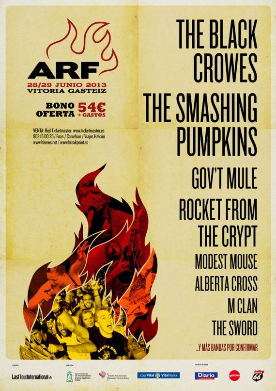 Azkena Rock Festival 2013 The Black Crowes y The Smashing Pumpkins cabezas de cartel