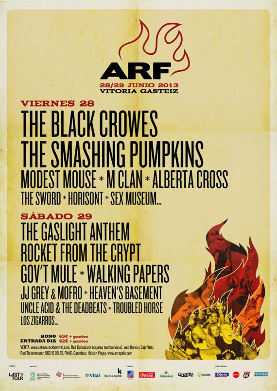 Azkena Rock Festival 2013 The Gaslight Anthem, Walking Papers, JJ Grey & Mofro, Uncle Acid & The Deadbeats, Heaven's Basement, Horisont, Troubled Horse, Sex Museum y Los Zigarros