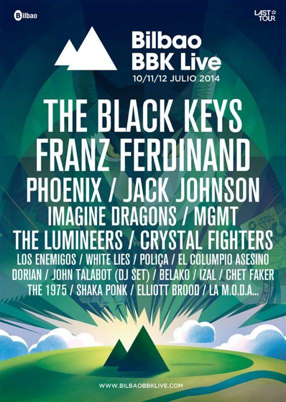 Bilbao BBK Live 2014 festival. The Black Keys, Elliott Brood, Franz Ferdinand, The Lumineers, Phoenix, Imagine Dragons, entre otros