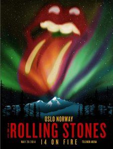 Rolling Stones Oslo Noruega 2014 cartel