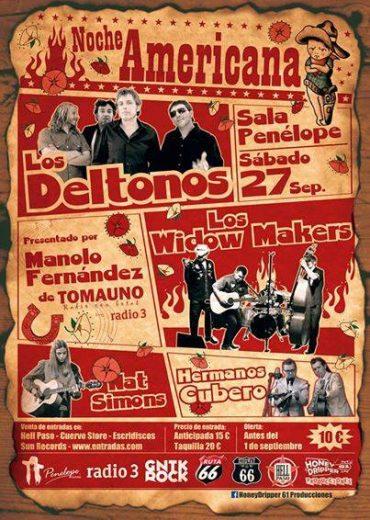 Noche Americana con Los Deltonos, Nat Simons, Los Widow Makers y Los Hermanos Cubero en Madrid