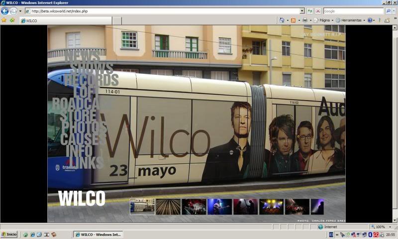 Wilco cuelga en su página web foto de dirty rock magazine del tranvía de Tenerife