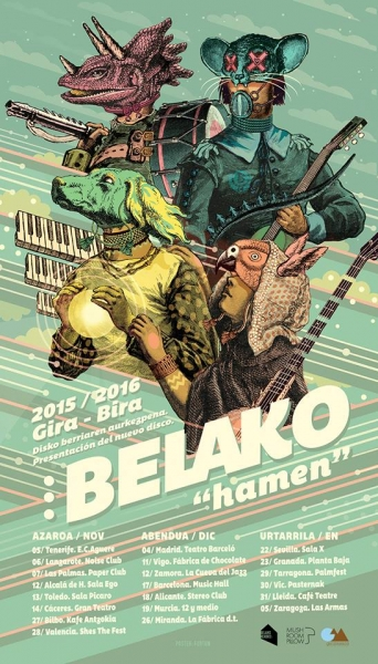 Cartel oficial Belako (gira completa)