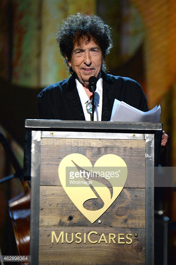 onstage at the 25th anniversary MusiCares 2015 Person Of The Year Gala honoring Bob Dylan at the Los Angeles Convention Center on February 6, 2015 in Los Angeles, California. The annual benefit raises critical funds for MusiCares\' Emergency Financial Assistance and Addiction Recovery programs. For more information visit musicares.org.