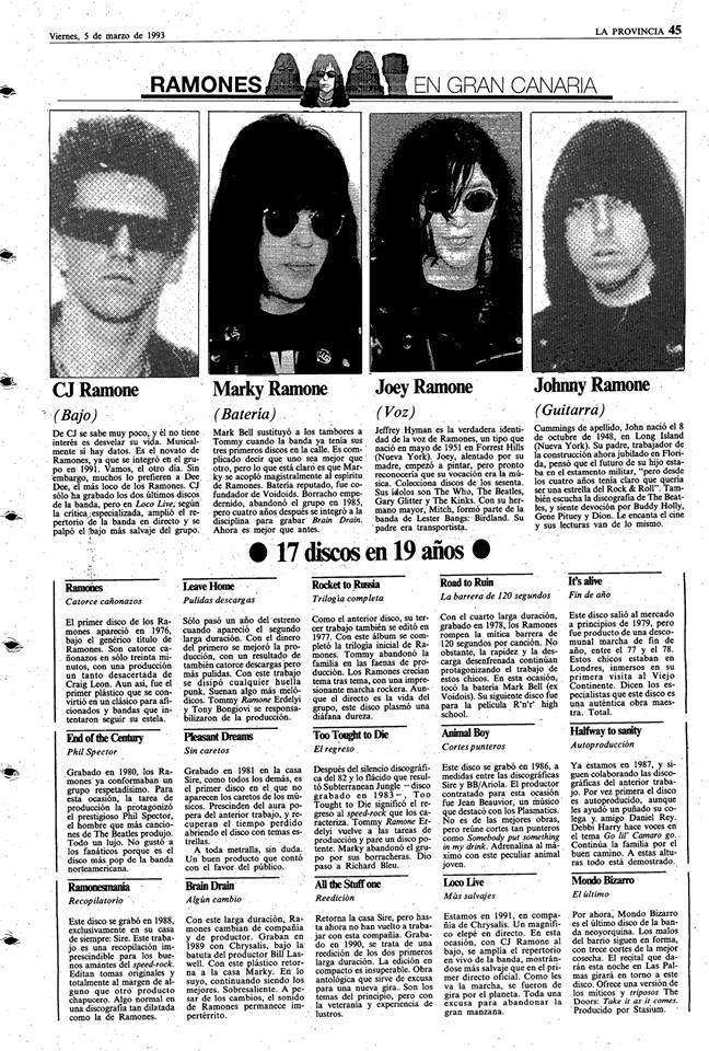 Ramones 5 de marzo de 1993 en Los Tarahales Las Palmas.jpg
