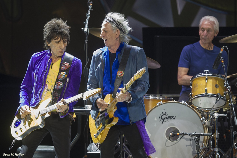5/23/2015 San Diego, Ca. | The Rolling Stones begin their US Tour Sunday night at Petco Park downtown. LtoR Ron Wood, Keith Richards and Charlie Watts during the bands Petco Park performance. | Photo Sean M. Haffey