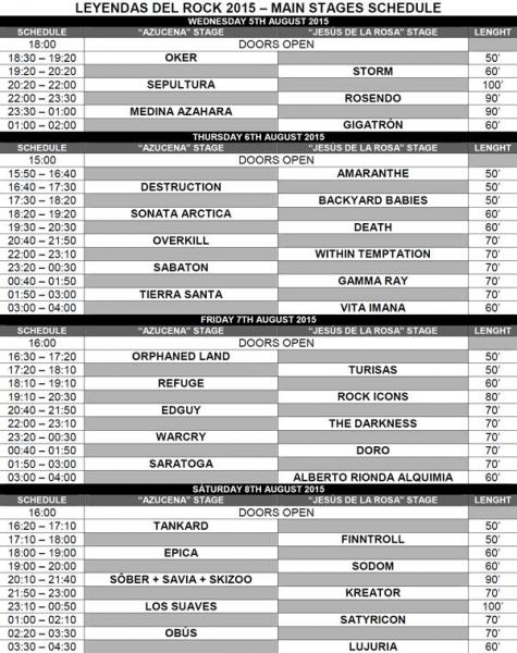 Leyendas del Rock en Villena, Alicante 2015 horarios 1