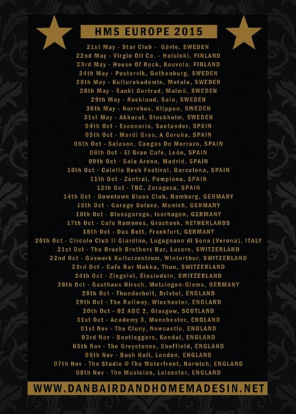 Dan Baird & Homemade Sin publican Get Loud España Europa Tour 2015