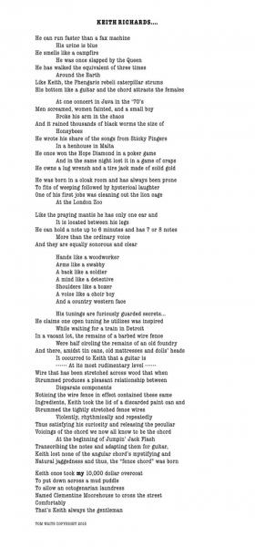 Tom Waits le escribe un poema a Keith Richards