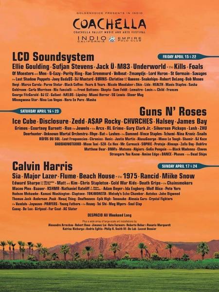 Coachella 2016 Festival anuncia a Guns N' Roses, LCD Soundsystem y Calvin Harris como cabezas de cartel