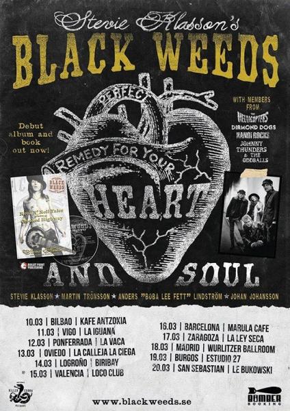 Stevie Klasson's Black Weeds de gira en España presentando su disco libro Rock 'N' Roll Tales from a Crooked Highway