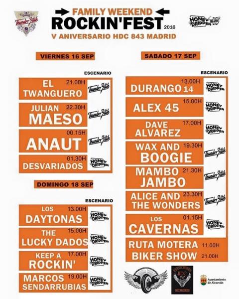 5ª edición del Rockin' Fest HDC 843 Madrid en el Recinto Ferial de Alcorcón horarios
