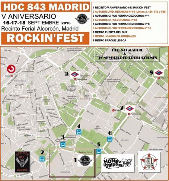 Mapa del rockin Festival en Alcorcón 2016