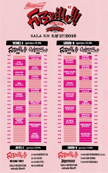 Fuzzville festival 2016 horarios