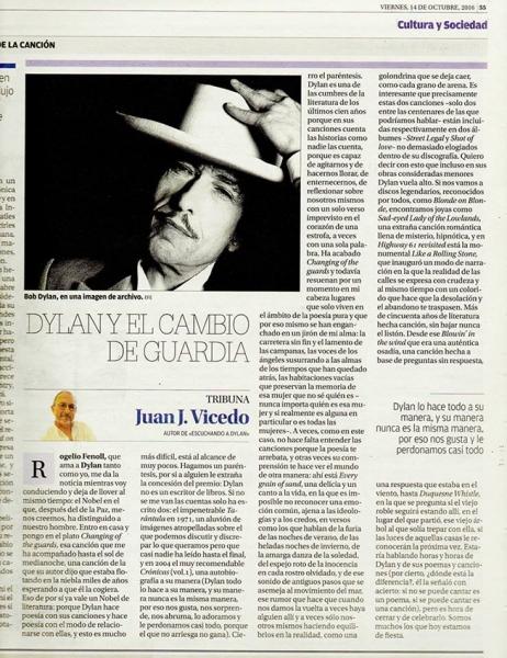 Bob Dylan, Nobel de literatura. Dylan y el cambio de guardia