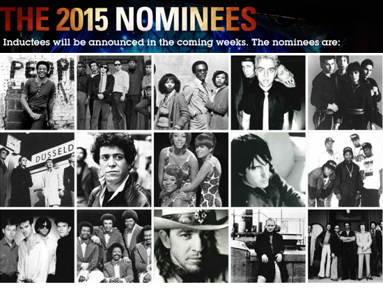Lou Reed, Stevie Ray Vaughan, Joan Jett, The Paul Butterfield Blues Band, Kraftwerk, The Marvelettes o Bill Withers sopreseleccionados para el Rock and Roll Hall of Fame 2015
