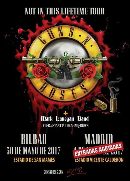 Mark Lanegan y Tyler Bryant & the Shakedown teloneros de Guns N\' Roses en Bilbao y Madrid