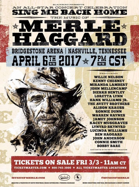 Willie Nelson y Keith Richards entre otros homenajeando a Merle Haggard 2017