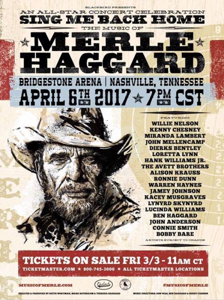 Willie Nelson y Keith Richards entre otros homenajeando a Merle Haggard 2017