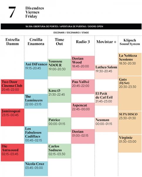 Cruïlla Fest horarios viernes