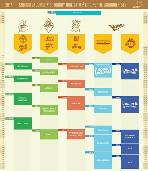 Azkena Rock Festival 2017, horarios y distribución por escenarios sábado