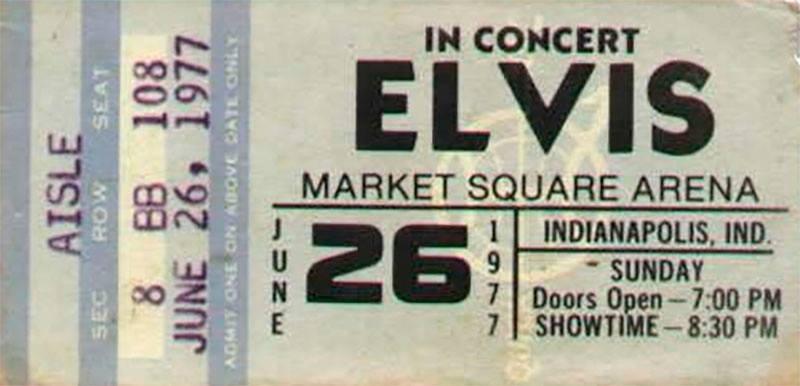 40 aniversario de la muerte de Elvis Presley 1977 Indianapolis ticket