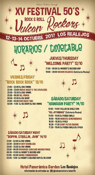 Festival Tenerife 50's Rock and Roll 2017 horarios