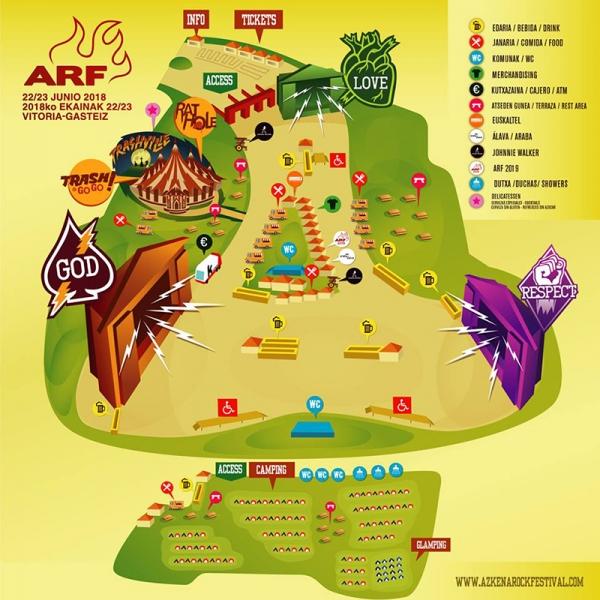 Mapa Azkena Rock Festival 2018