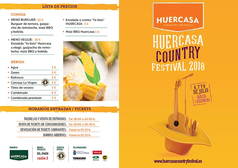 Huercasa Country festival 2018 precios menú