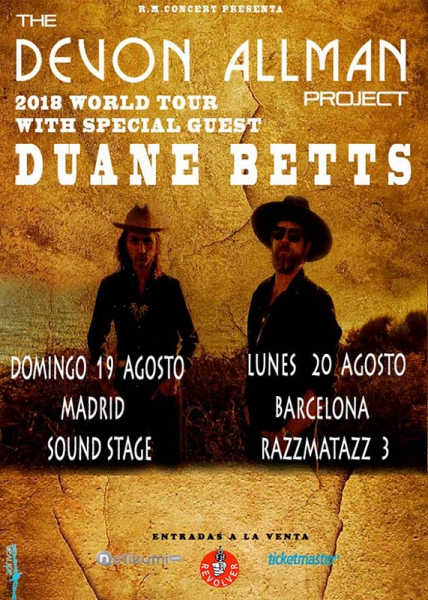 Gira de Devon Allman Project junto a Duane Betts Jaén Barcelona y Madrid