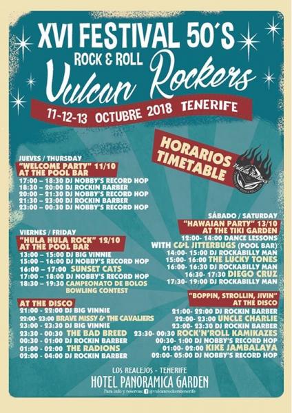 Festival 50'S ROCK'N'ROLL VULCAN ROCKERS 2018 horarios