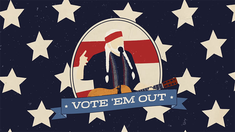 Willie Nelson anima a los votantes a echar a Trump con Vote' Em Out